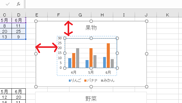 VBAグラフプロットエリア上左位置