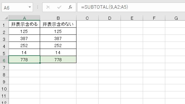 Excel関数SUBTOTAL