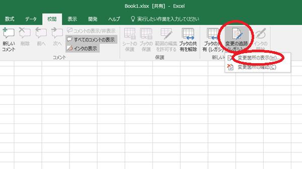 Excel変更箇所の表示