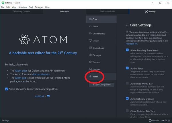 Atomインストール日本語化